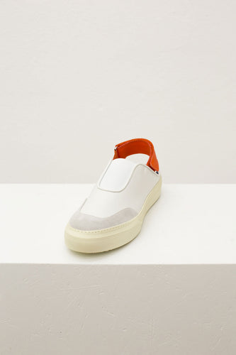WHITE & ORANGE SABOT SNEAKERS WITH STRAP