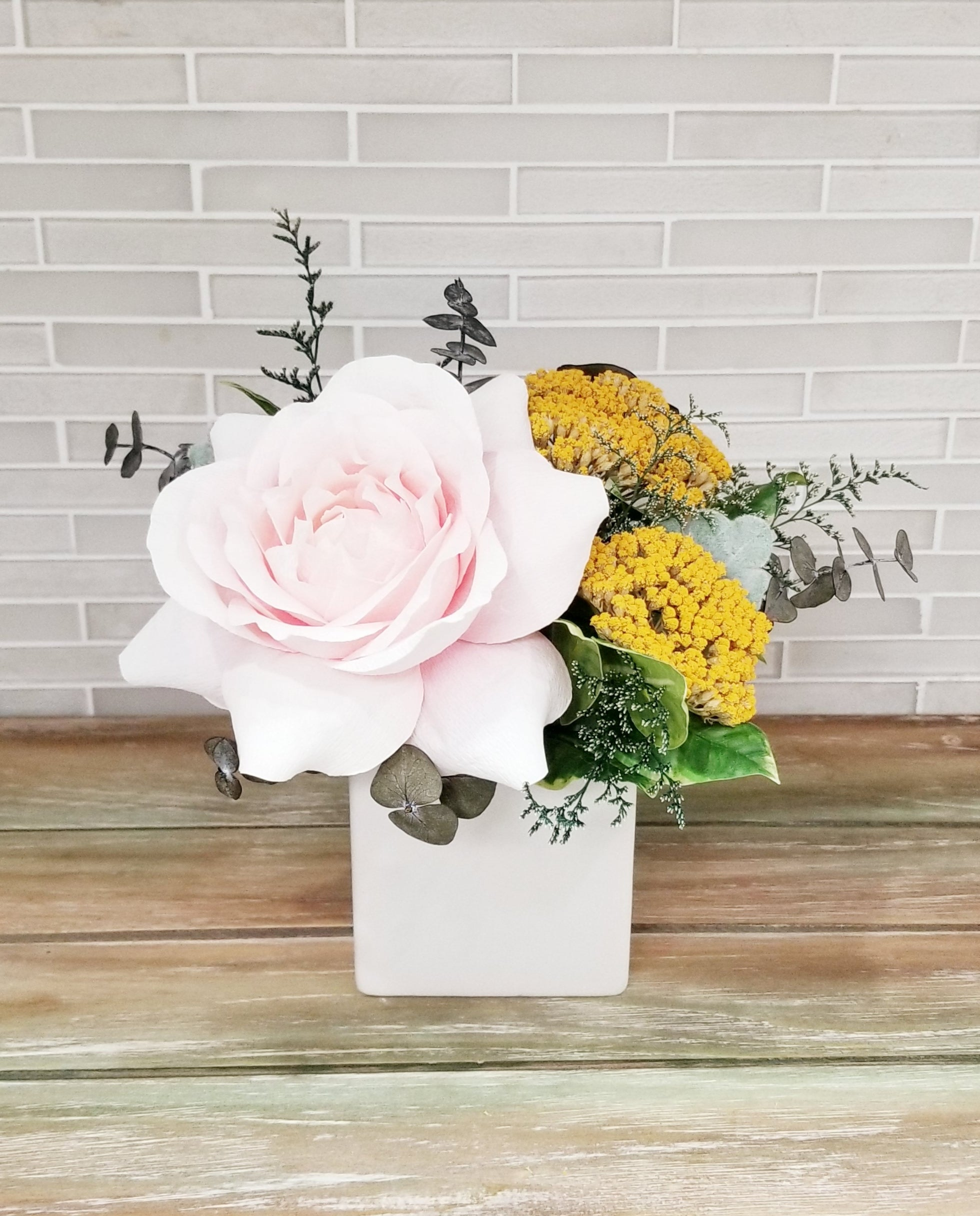 Cream & Blush Rose Mini Arrangement