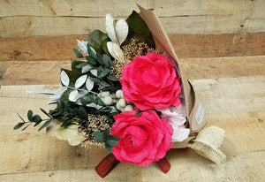 Red Rose Evergreen Bouquet