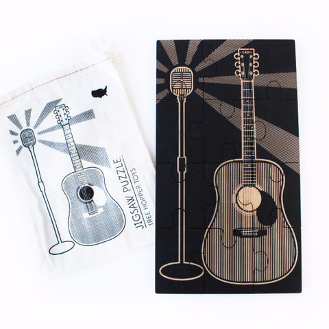 Jigsaw Puzzle - Guitar and Vintage Microphone