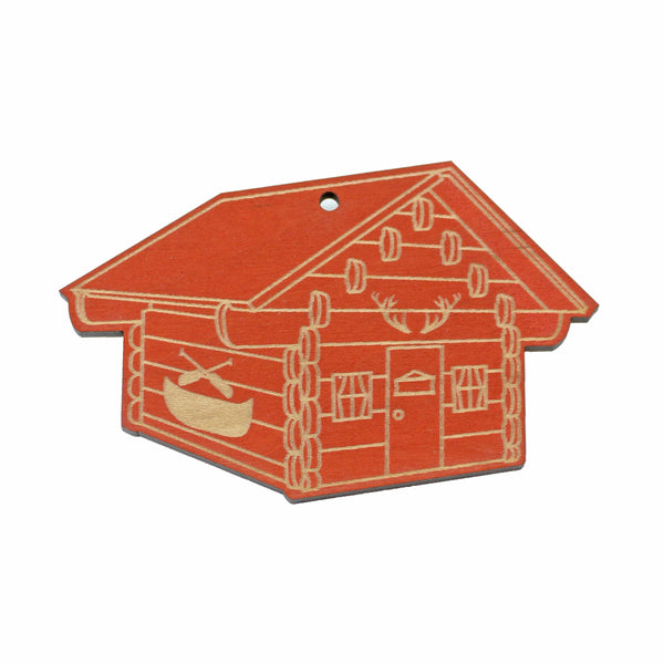 Wooden Ornament - Red Cabin