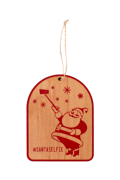 Wooden Ornament - #SantaSelfie
