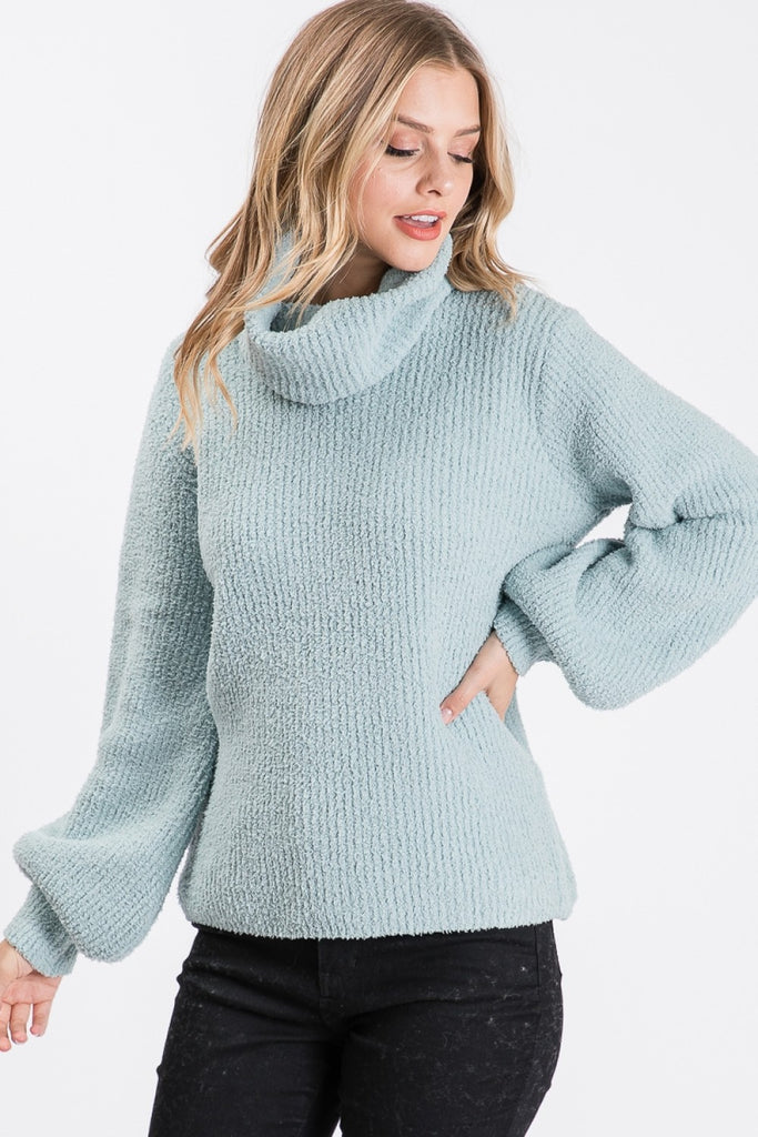 Caitlyn Cowl Neck Sweater | Sage