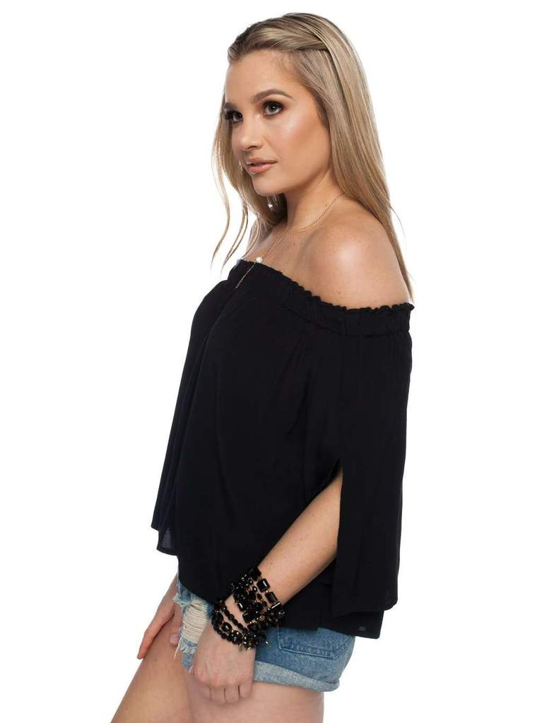 Chase Off The Shoulder Black Top