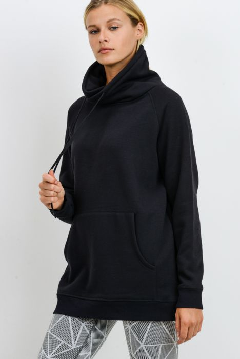 Criss-Cross Cowl Neck Longline Pullover | Black