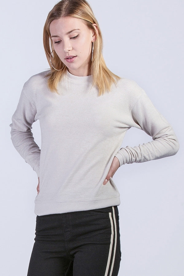 Hacci Sweater with Ribbed Sleeves