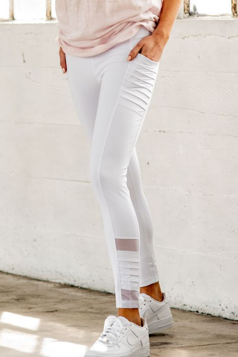 Highwaist Moto Ribbed Full Leggings with Mesh and Pockets - white