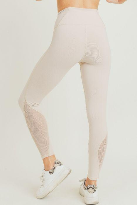 Highwaist Performance Mesh Panel Full Leggings - Nude