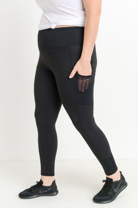 Highwaist Origami Mesh Full Leggings - black