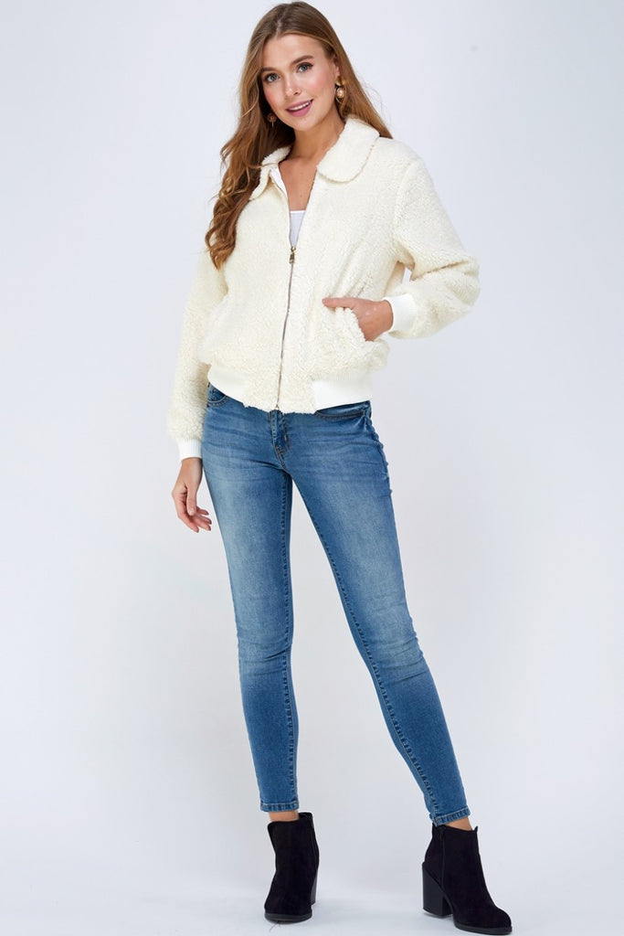 Kate Zip-Up Bomber Jacket - Off White
