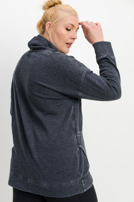 Cowl Neck Overlay Sweater - black