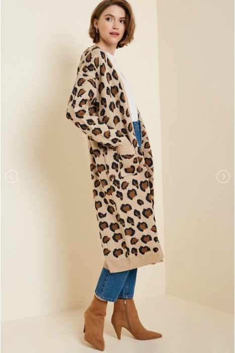 Leopard Knit Cardigan Duster