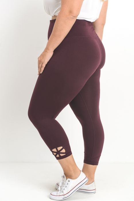 Star Criss Cross Capri Leggings | Magenta