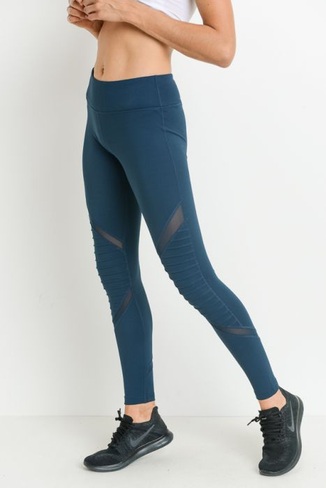 Moto Mesh Full Leggings - teal blue