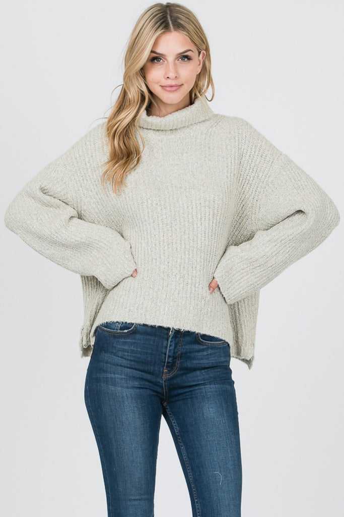 Lauren Solid Cowl Neck Sweater | Cream