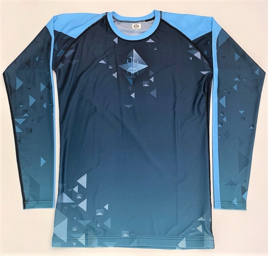 BLUE WITH TRIANGLES RASH GUARD