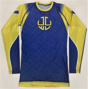 YELLOW AND BLUE RASH GUARD