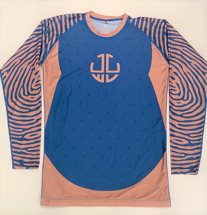 BEIGE/BLUE RASH GUARD