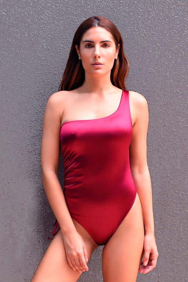 Burgundy Fitkini One Piece Swimsuit
