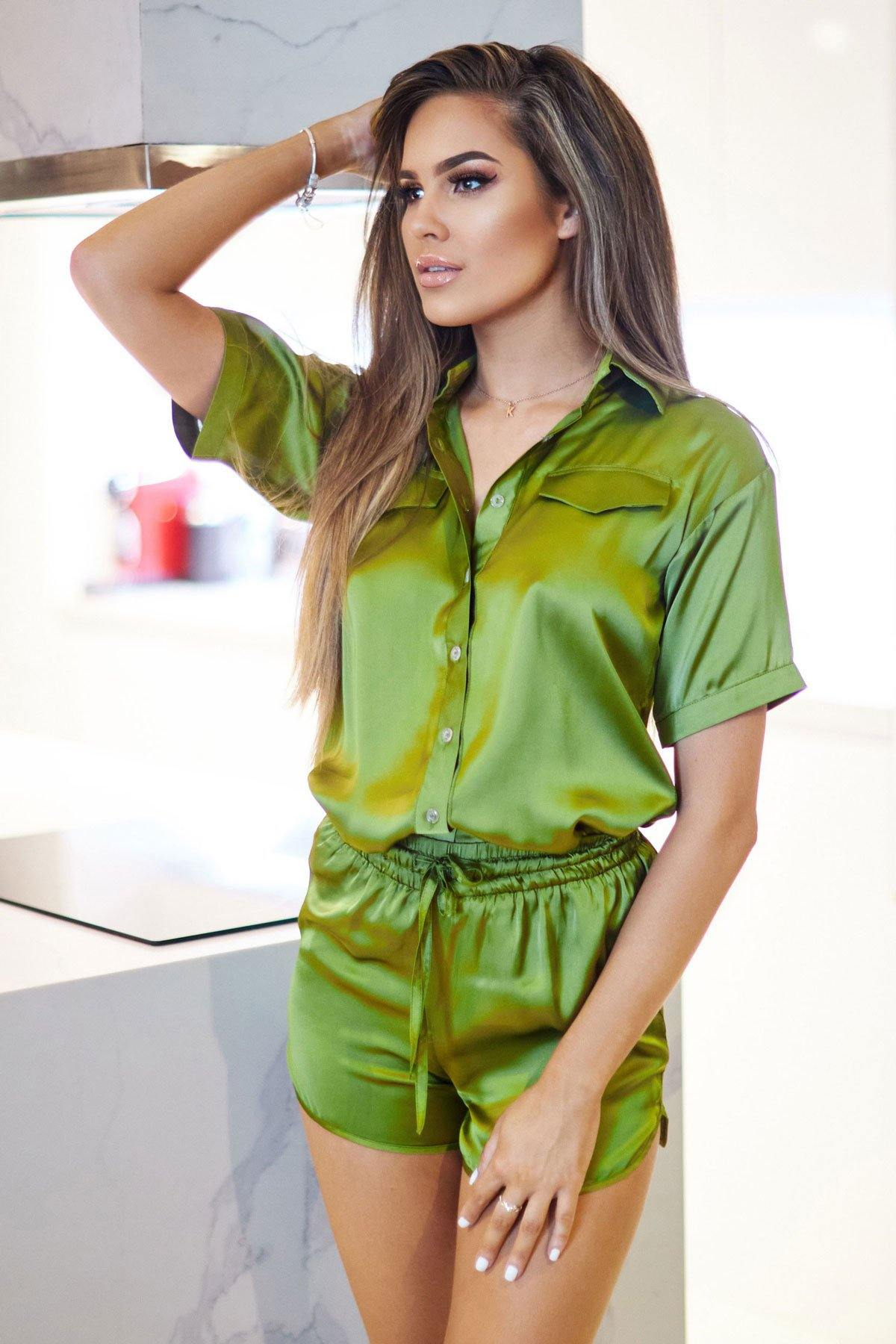 Marseille Silk Olive Set with Shorts - ANITAS