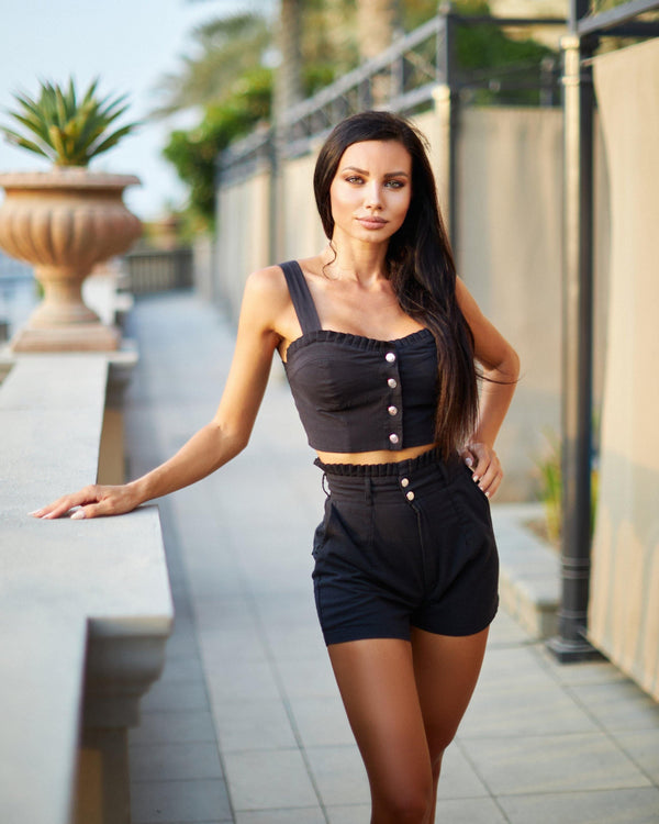 Paris Summer Set with Shorts - Black - ANITAS