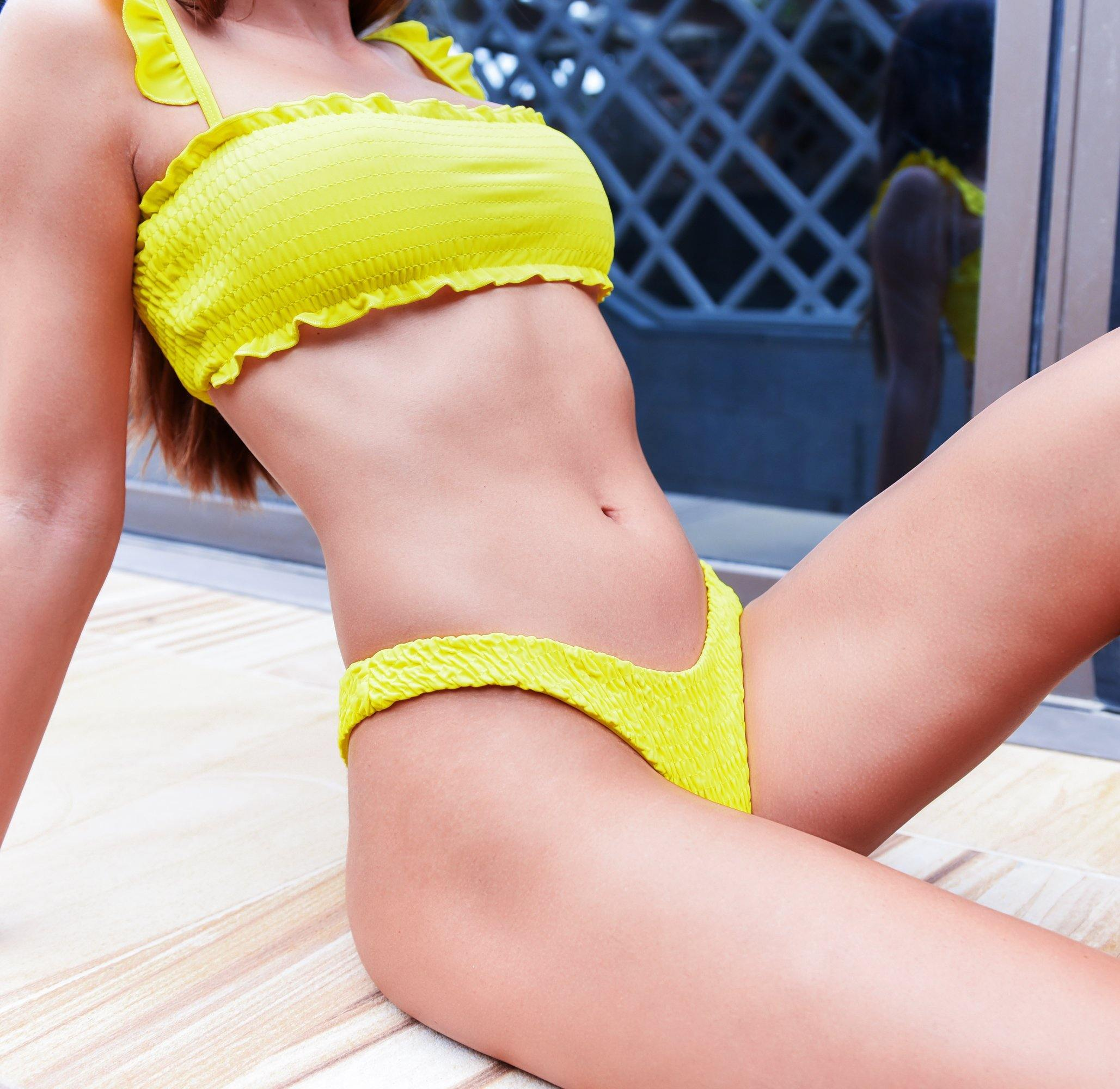 sexy yellow bikini - flirty look
