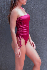 Burgundy swimsuit - one shoulder