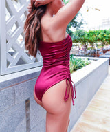 Wine color swimsuit