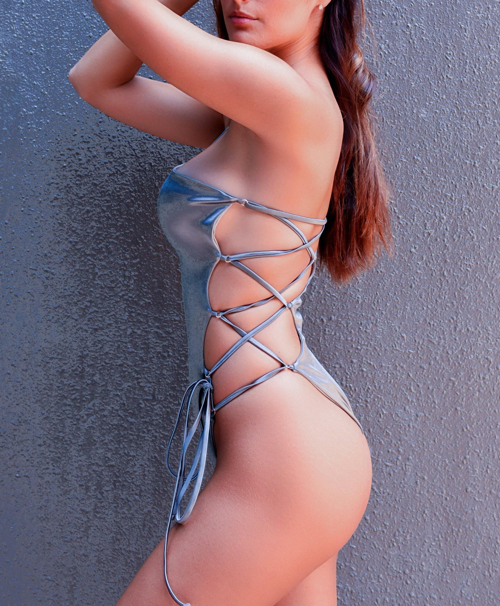 Silver laced swimsuit one piece - dubai design fashion