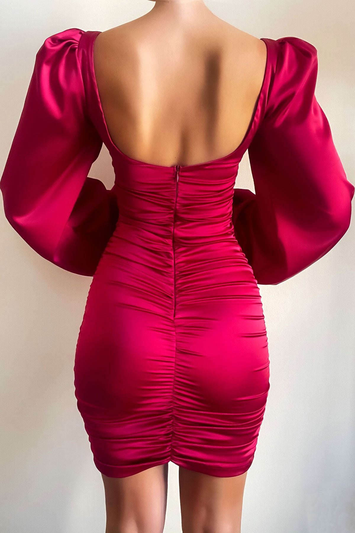Sleeve Drama - Red Satin Dress