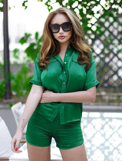 Marseille Silk Green Set with Shorts