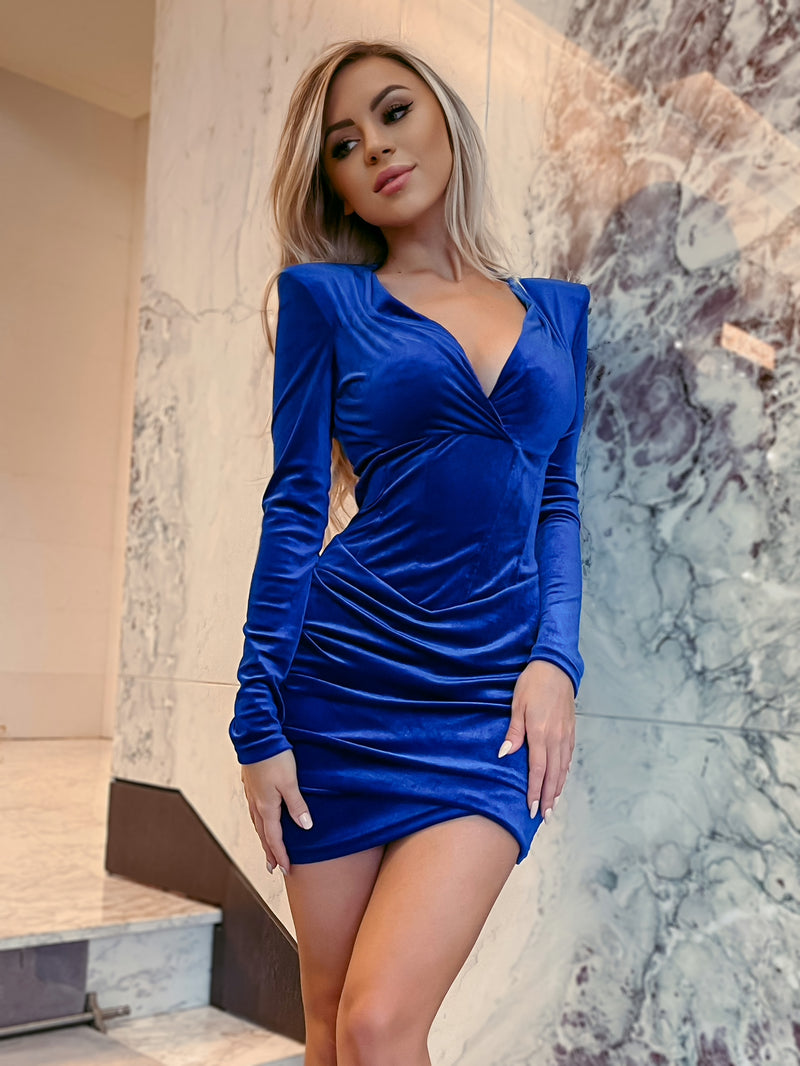 Flatter Me Velvet Dress - Royal Blue