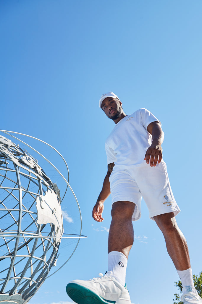 Look up and you'll see the Unisphere in Flushing Meadows in Queens. Love-Love, Forty-Love, Love Forty, a tennis term that inspired the Sergio Tacchini limited edition collection.