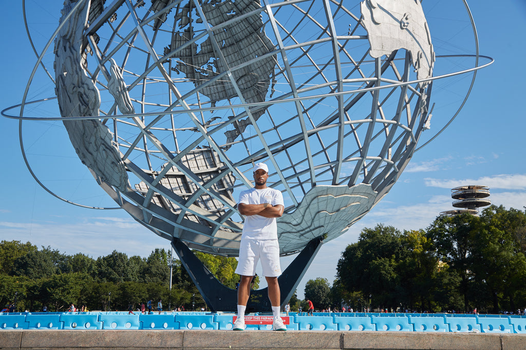 The Unisphere Globe, the iconic symbol of the US Open. Located Flushing Meadows Corona Park in Queens, NY.  Also stand 6 feet apart for social distancing.