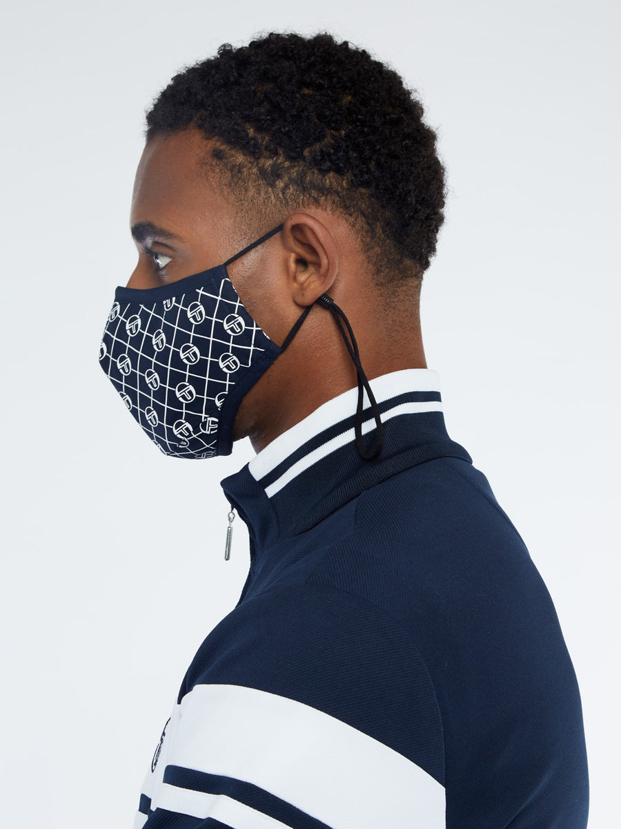 MONOGRAM FACE MASK - NAVY/WHITE