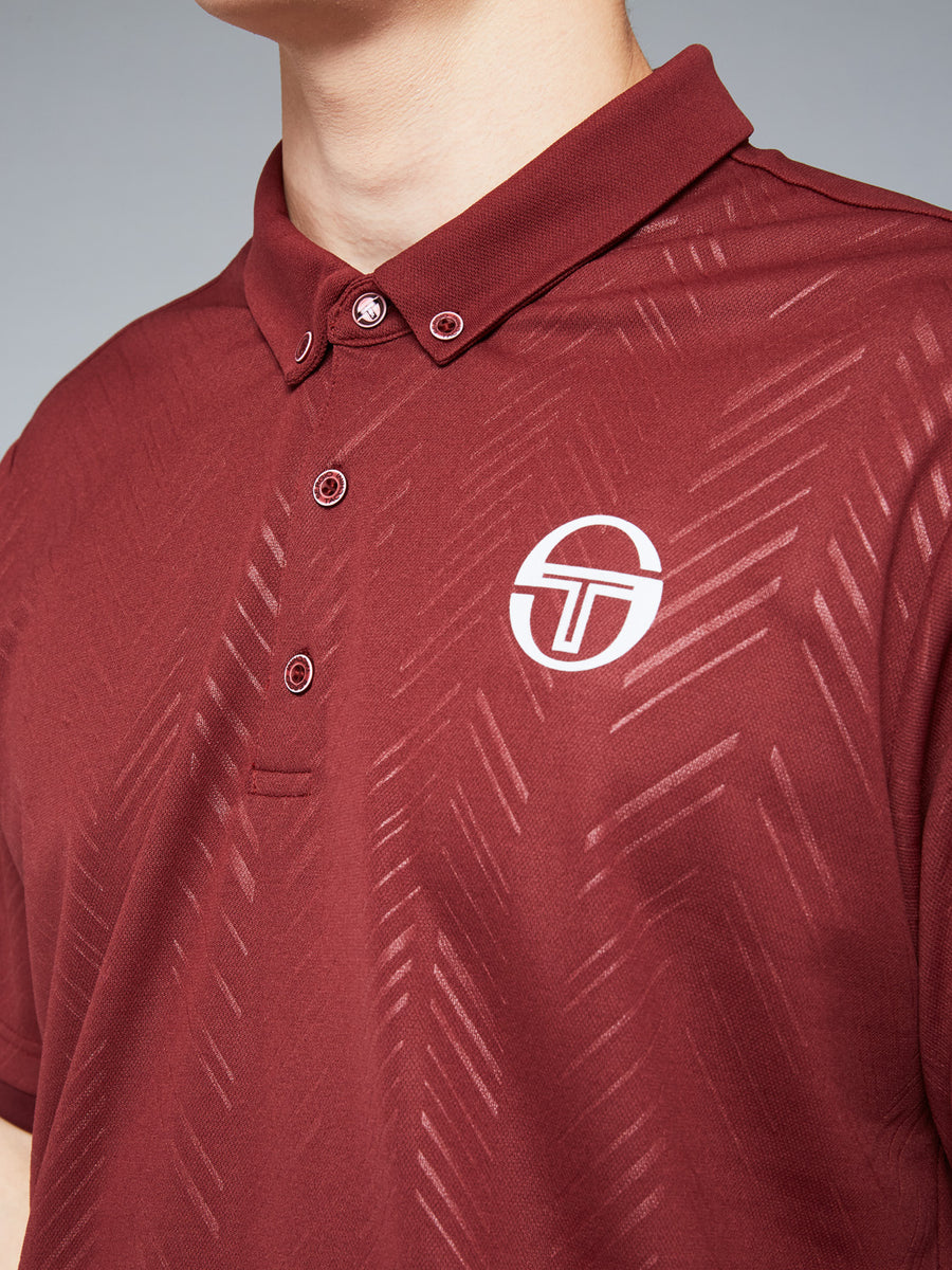 CHEVRON POLO - BORDEAUX/WHITE