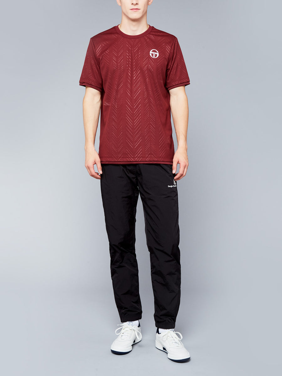 CHEVRON T-SHIRT - BORDEAUX/WHITE