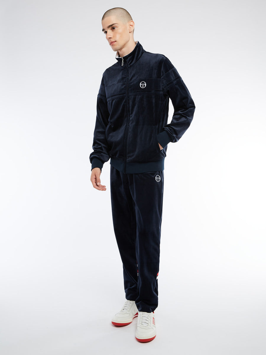 Damarindo Velour Track Jacket Archivio - NAVY/WHITE