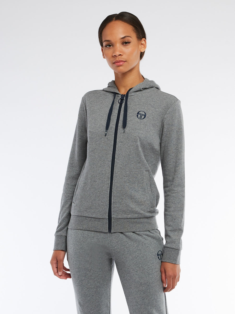 Ella Full Zip Hoodie - DARK GREY MELANGE/NAVY