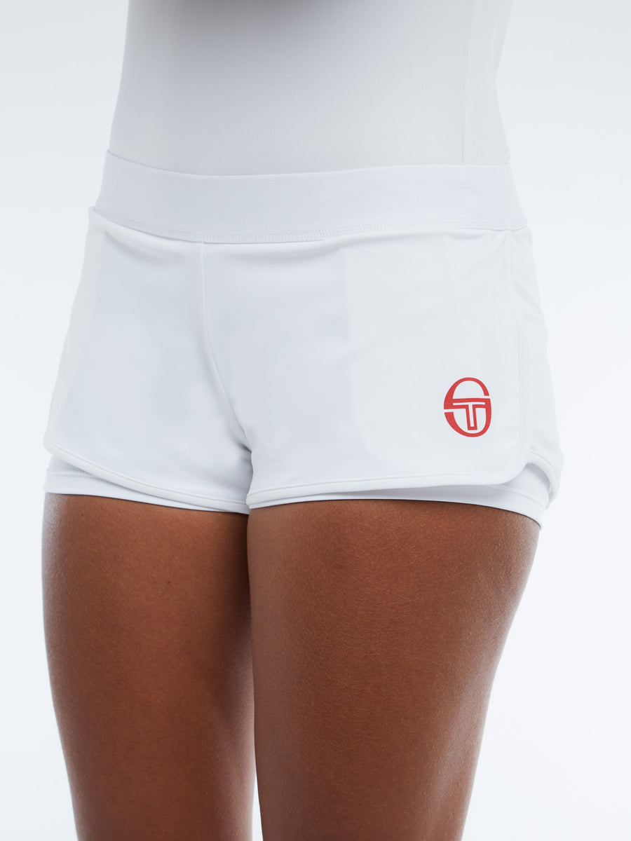 Ella Shorts - WHITE/RED