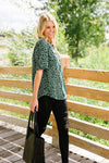 Deep Sage Leopard And Lace Blouse