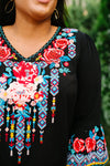 Black Boho Embroidered Blouse