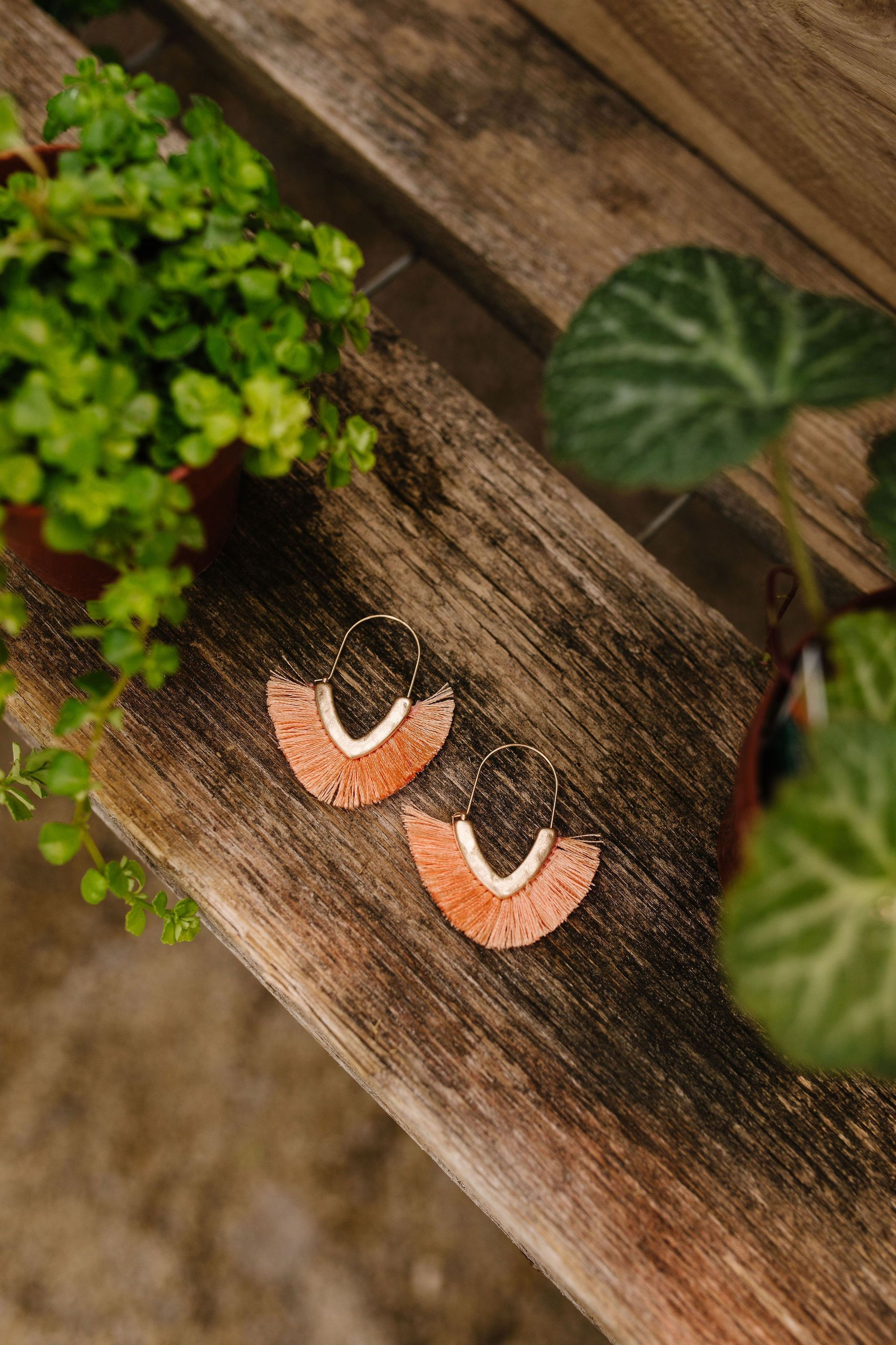 Tasseled V Earrings In Peach