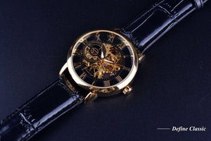 Leather skeleton mechanical watch(Father's Day Limited Time Discount)