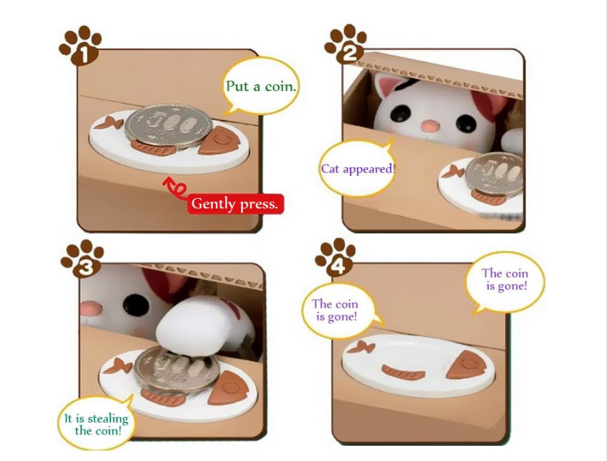 Hot selling automatic money stealing cat piggy bank