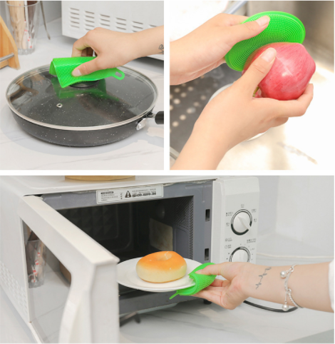 2Pcs,Silicone Dish Washing Sponge Scrubber Kitchen Cleaning antibacterial Tool