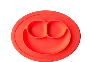 Silicone baby placemat smiley round non-slip built-in plate bowl tray