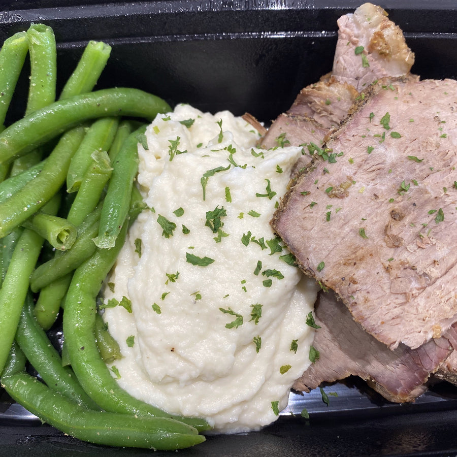 Roast Beef, Green Beans, & Cauli Mash