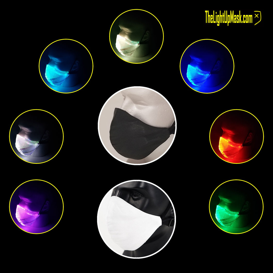 The Light Up Mask LED Dust Mask with 2 color options each with 7 color modes and 5 control modes.