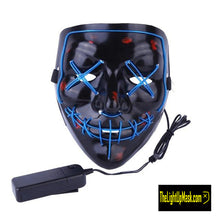 Load image into Gallery viewer, The Light Up Mask LED Stitches Purge Mask in Blue with 3 control modes.